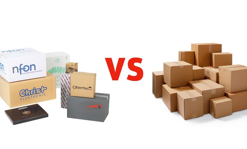 brauner Karton vs bedruckter Karton